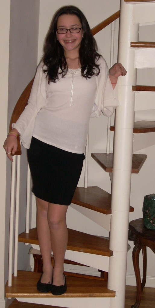 The spirial staircase was a deal-breaker for a lot of people who looked at the house. We thought it was charming -- although it has proved a logistical nightmare and wasn't real toddler-friendly! Here's Catherine headed to her choral concert two Christmases ago.