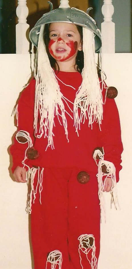 Catherine as Spaghetti and Meatballs. Third grade. Still the best costume. Ever.