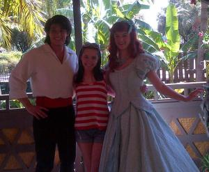 Catherine meets Ariel and Eric from The Little Mermaid.