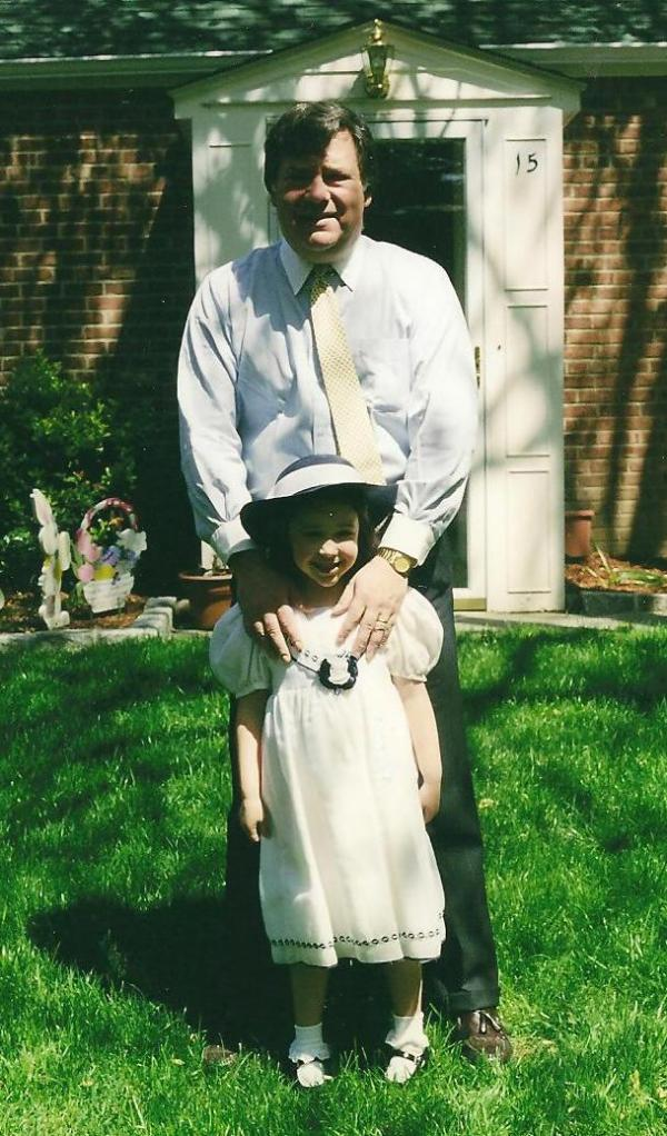 Easter 2002 (the Orthodox one). Catherine is 6 here (and Basil is much less gray!). Don't you love her hat?