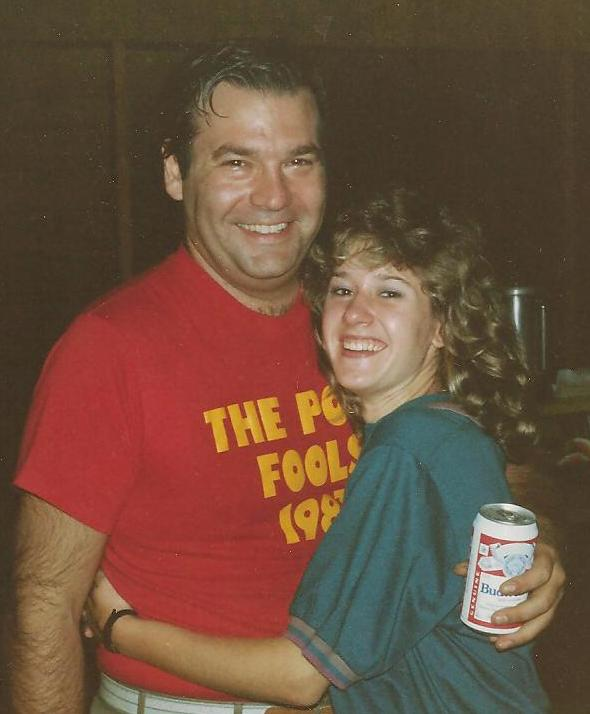This is how we looked in 1987, when we started dating. No gray hair for me. Long frosted hair for me. And yes, I think he kept hold of that beer just as tightly as he did me!