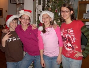 Dominic, Catherine, Laura and Kathryn several Christmases ago.