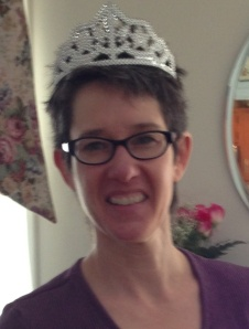 Back at home, and rocking the tiara!