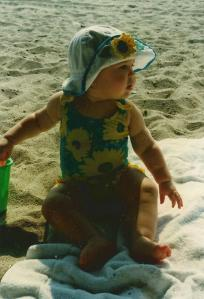 One of Catherine's first trips to the beach, in 1997.