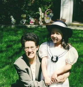 Me and Catherine on our way to the kids' Easter service at church in 2002. I loved her dress, a hand-me-down from my sister-in-law. It might be the last time I was able to coerce Catherine to wear a hat.
