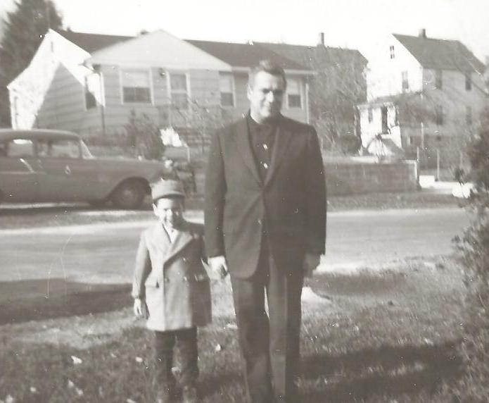 Basil and Nick, in the late 1950s. Basil thinks this was taken in Stamford, CT. (Love the car in the background!)