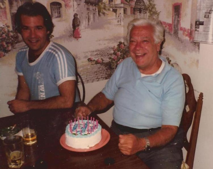 Basil and Nick, on Nick's birthday in 1982.