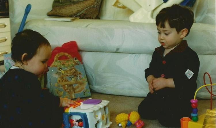 Catherine and Dominic. I think this must be Christmas 1996.