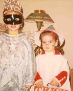 Not sure what year this is. It's me, on the left, and my sister, Traci, many Halloweens ago.