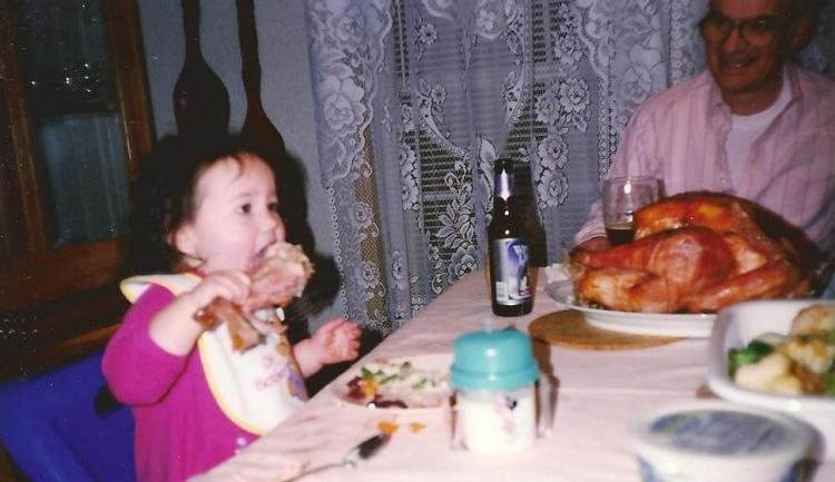 Catherine and Grandpa (my dad, Mike Salvatore), Thanksgiving 1997.