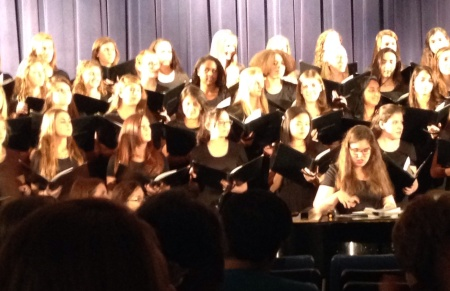 Sopranos in the Concert Choir. Catherine is smack-dab in front.