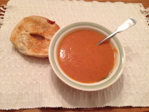 Sweet Potato and Chorizo Soup. With Nancy's amazing fresh-baked break long gone, we reached for bagels to dunk.