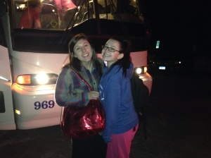 Catherine, right; and her friend Amanda boarding the bus.