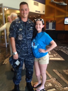 This soldier was nice enough to pose with Catherine before they sang.