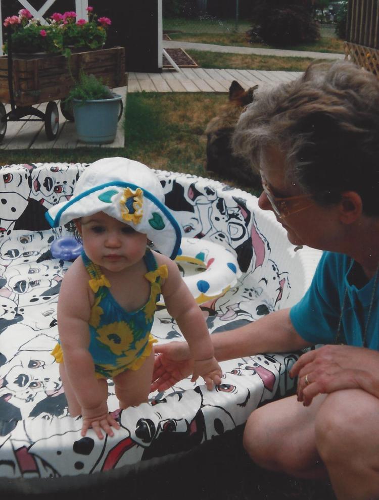 In the swim: Catherine and Grandma.
