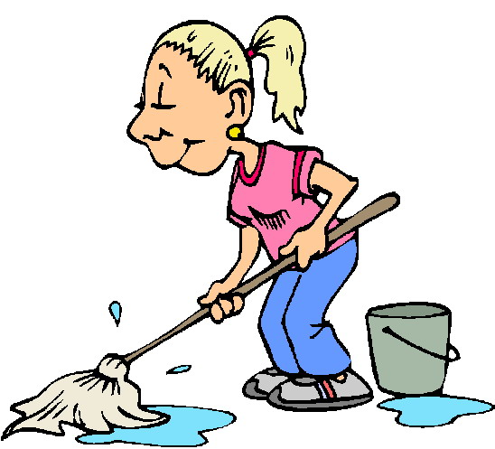 Pool Cleaning Clip Art : Airing our dirty linoleum pushing on a rope