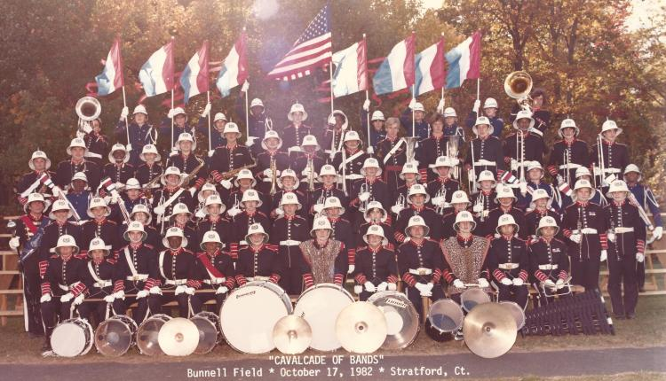 Port Chester High School Marching Band, 1982. I'm with the clarinets, at the right, my helmet slightly askew. The drum major way over the left? You can see him on TV now. Have you figured out who he is?