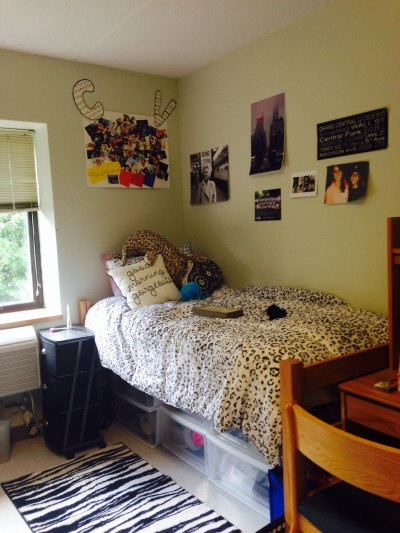 Catherine's side of the dorm room.