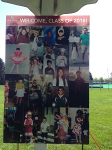 Hofstra had these terrific welcome posters at the check-in tent. Recognize someone in the upper right?