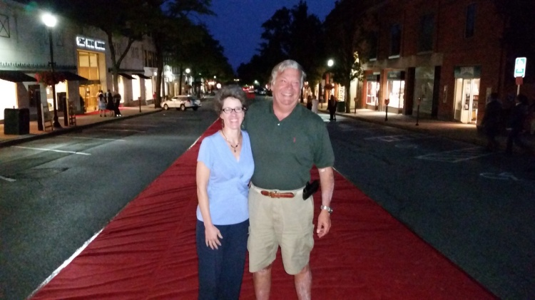 We thought this section of Greenwich Avenue in Greenwich, CT, might have been closed to celebrate our wedding  anniversary. Alas, it was for a fashion event that took place while we were eating dinner out. No matter, one of Greenwich's finest was kind enough to snap this shot of us hamming it up.