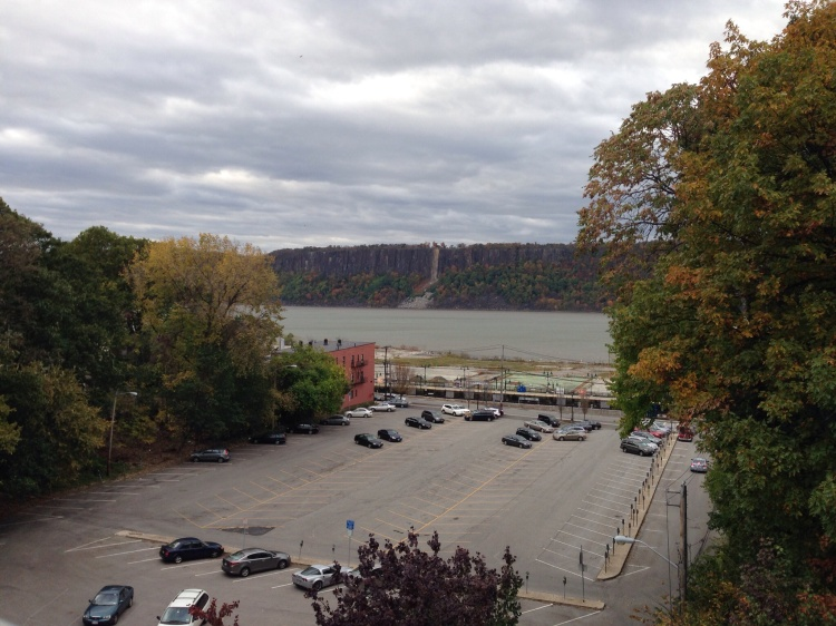 Hudson River and Palisades from the Warburton Avenue Bridge, Hastings-on-Hudson, NY.
