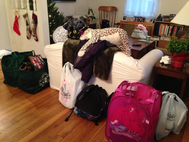 She brought a few things for her five-week winter break