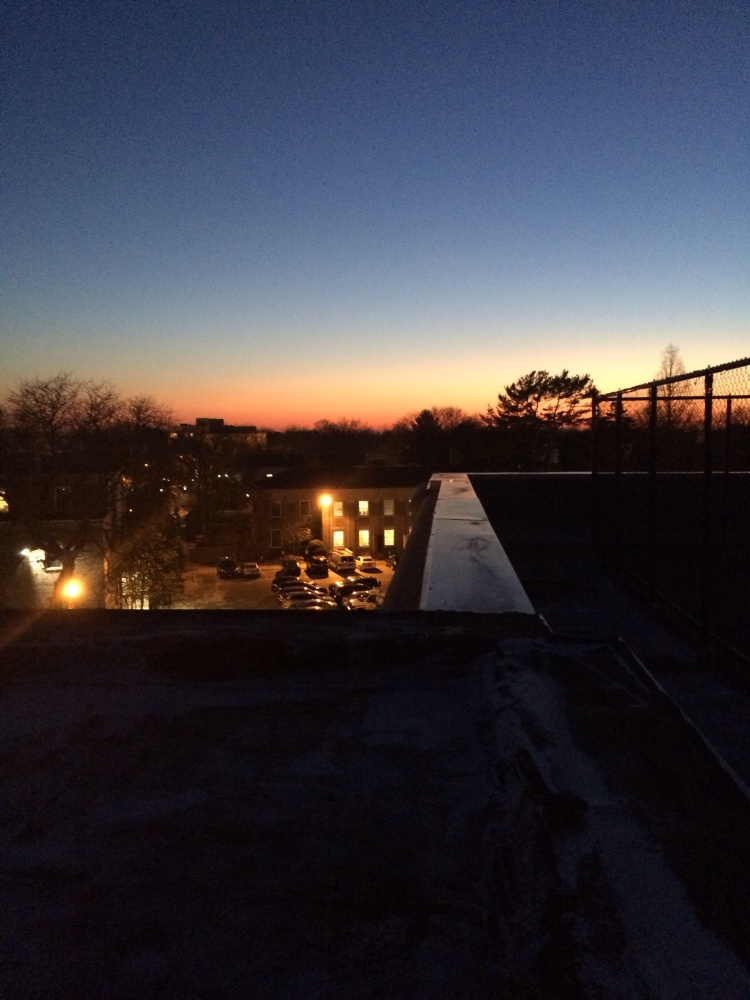 Guest image by Catherine Vanech. View from rooftop of Berliner Hall at Hofstra University, where her astronomy class gathered for an observation session yesterday evening.