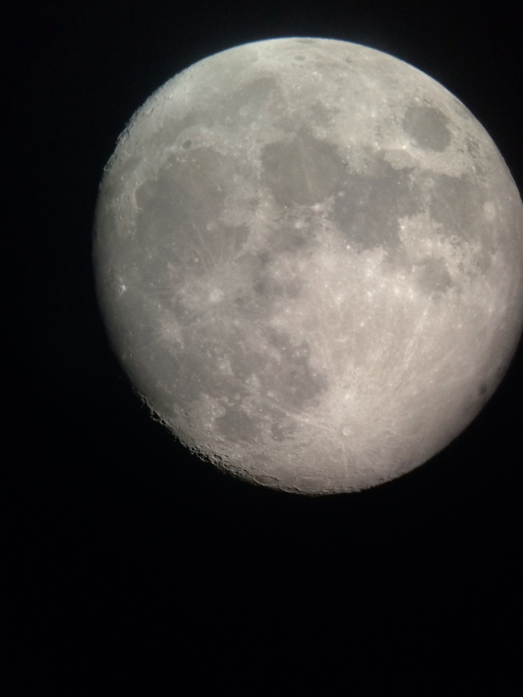 The moon as viewed through a telescope during a Hofstra University astronomy lab last week. Photo by Catherine Vanech
